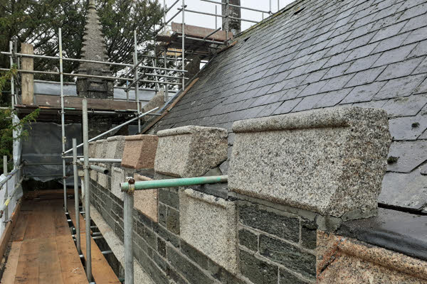 Some freshly cleansed castellations at the Tavistock Guildhall project, cleaned using the DOFF system.