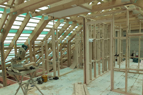 The interior structure of a new flat at Bannawell Street in Tavistock.