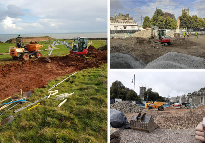 Groundworks being executed at the Tavistock Guildhall