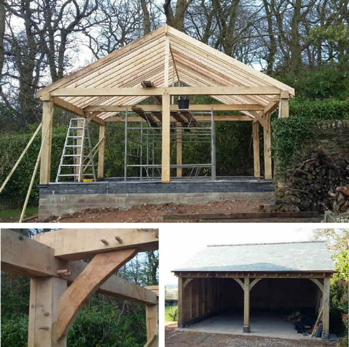 An oak garage being constructed by RM Builders and Contractors Ltd